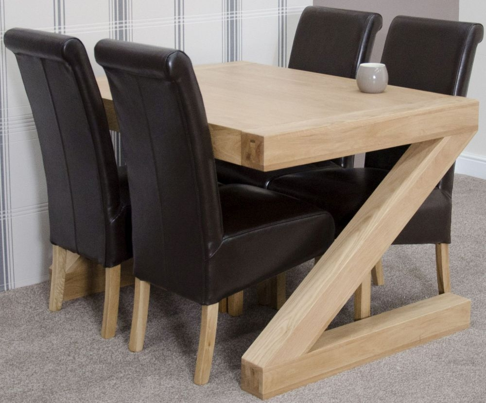 Homestyle GB Z Oak Designer Dining Set - Small with 4 Richmond Brown Chairs