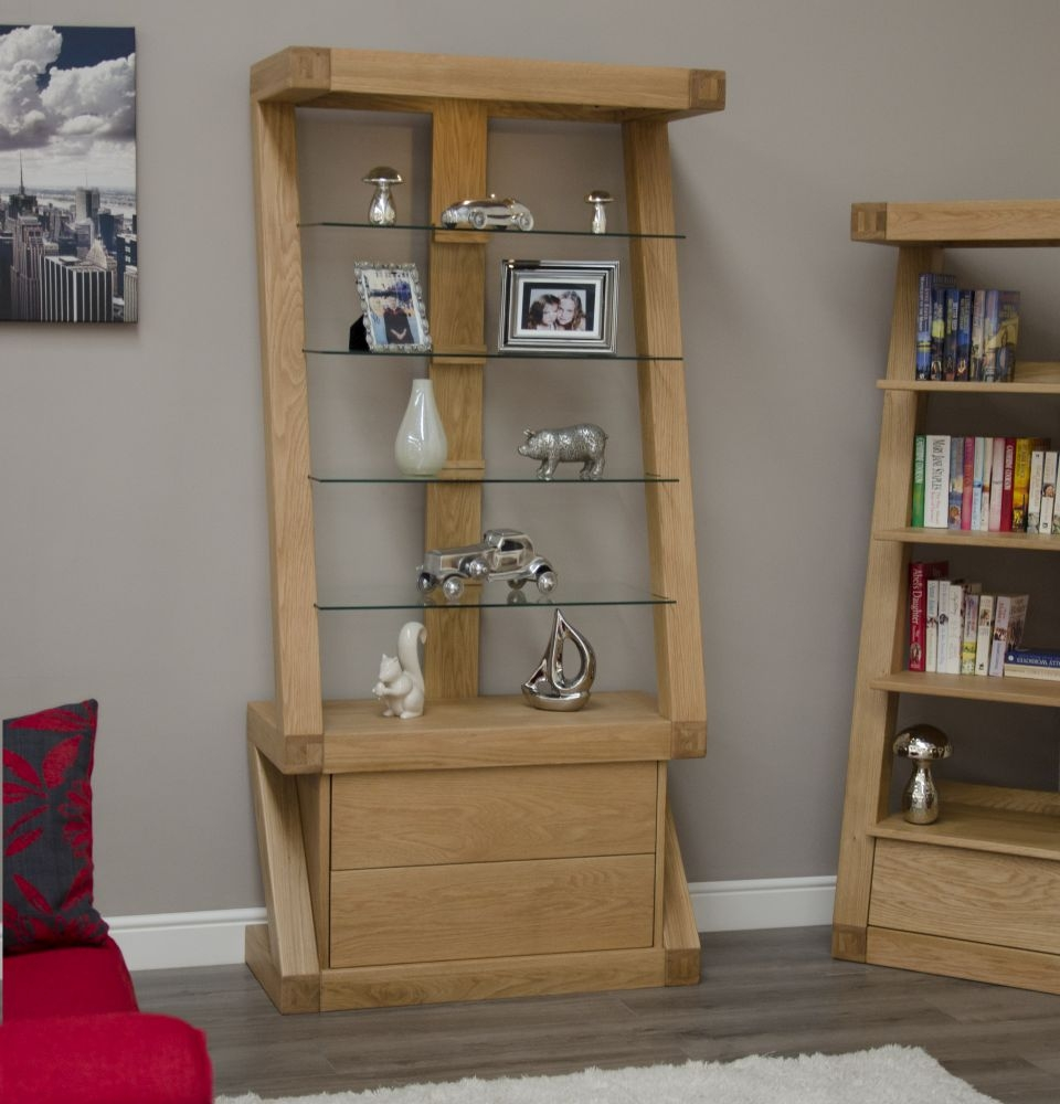 Homestyle GB Z Oak Designer 2 Drawer Glass Display Cabinet