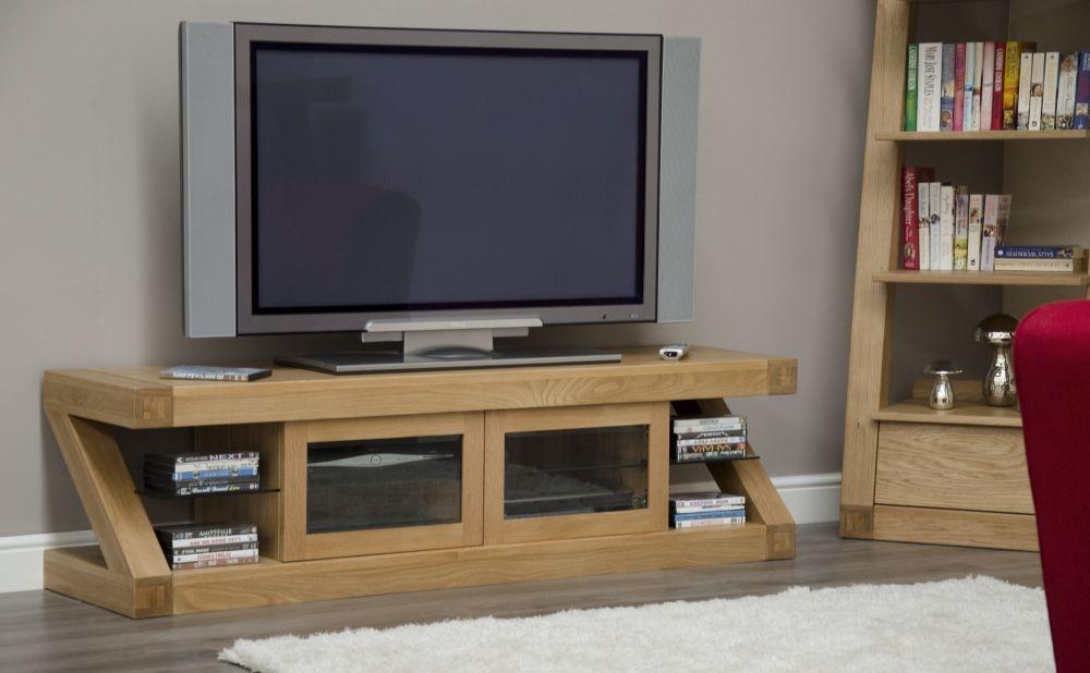 Homestyle GB Z Oak Designer 2 Door Glass Plasma TV Unit