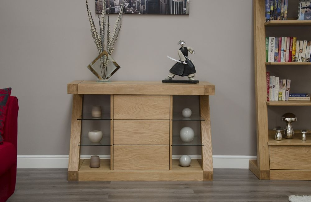 Homestyle GB Z Oak Designer Sideboard - Small Narrow 3 Drawer