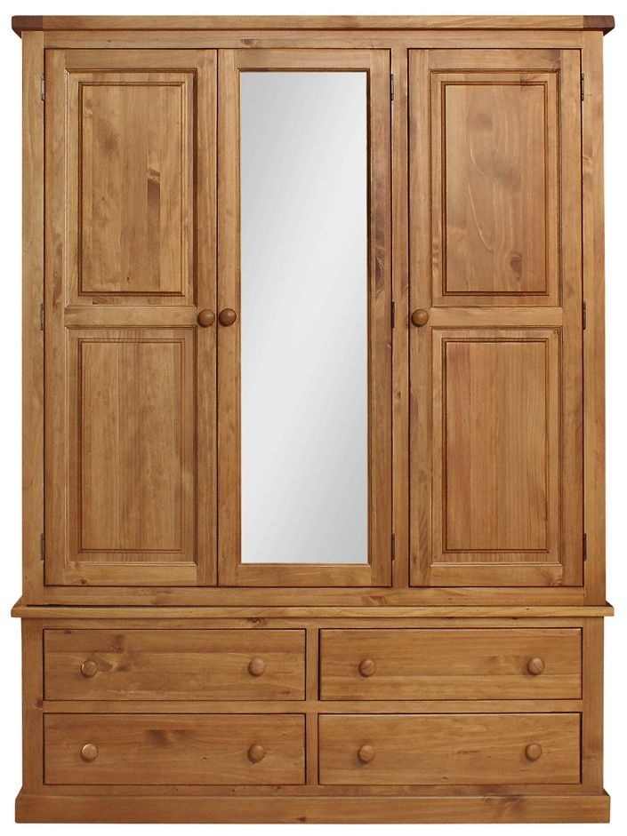Abington Pine Wardrobe - 3 Door 4 Drawer