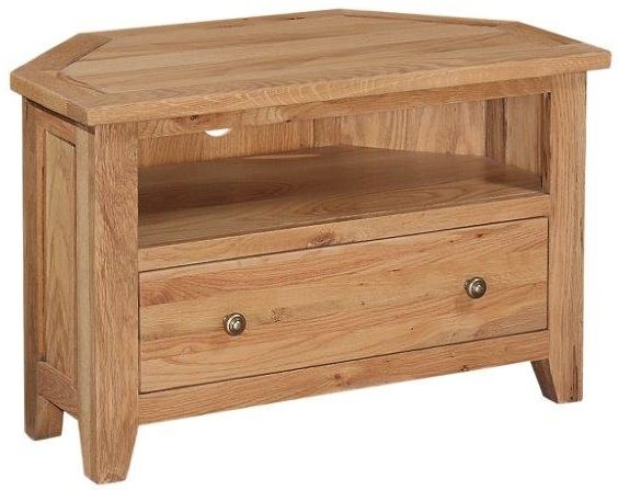 Appleby Mini Oak 1 Drawer Corner TV Unit