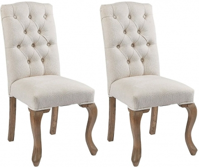 Asbury Reclaimed Pine Studded Cream Fabric Dining Chair (Pair)