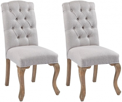 Asbury Reclaimed Pine Studded Grey Fabric Dining Chair (Pair)