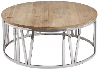 Asbury Reclaimed Pine Round Clock Coffee Table
