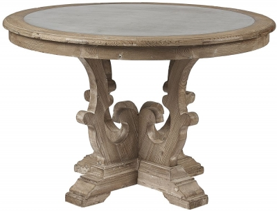 Asbury Reclaimed Pine Zinc Top Round Dining Table