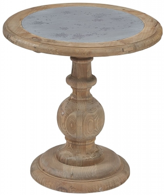 Asbury Reclaimed Pine Zinc Top Round Lamp Table