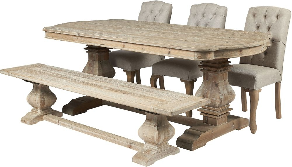 Asbury Reclaimed Pine Kidney End Dining Table with 3 Cream Fabric Chairs and Bench