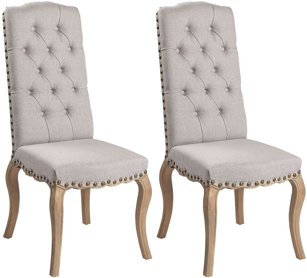 Asbury Reclaimed Pine Studded Grey Fabric Dining Chair with Bronze Nails (Pair)