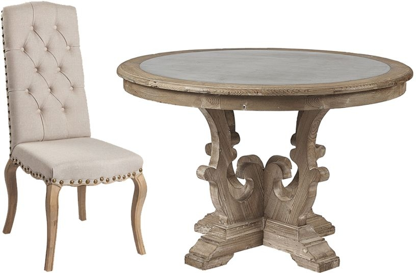 Asbury Reclaimed Pine Zinc Top Round Dining Table and 4 Natural Fabric Chairs