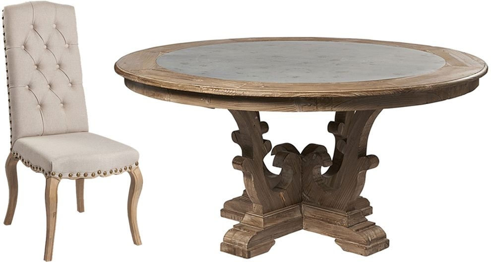Asbury Reclaimed Pine Zinc Top Round Large Dining Table and 6 Natural Fabric Chairs
