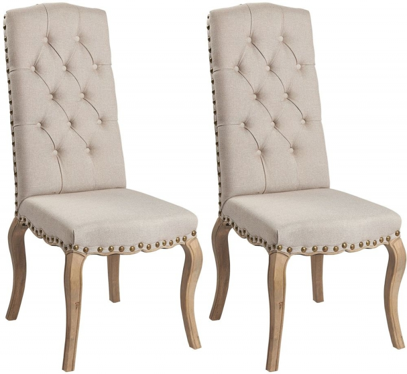 Asbury Reclaimed Pine Studded Natural Fabric Dining Chair (Pair)