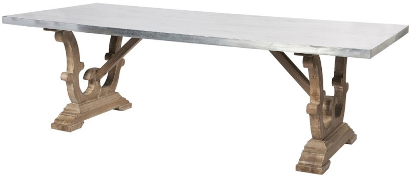 Asbury Reclaimed Pine Zinc Top Large Dining Table