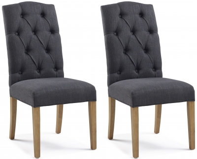 Paterson Arch Top Carbon Black Button Back Dining Chair (Pair)