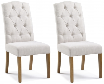 Paterson Arch Top Natural Button Back Dining Chair (Pair)