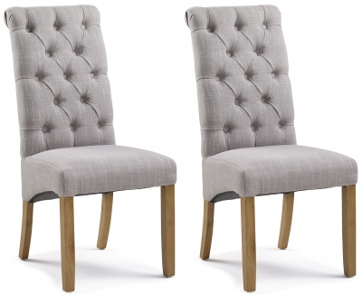 Athens Straight Top Putty Button Back Dining Chair (Pair)