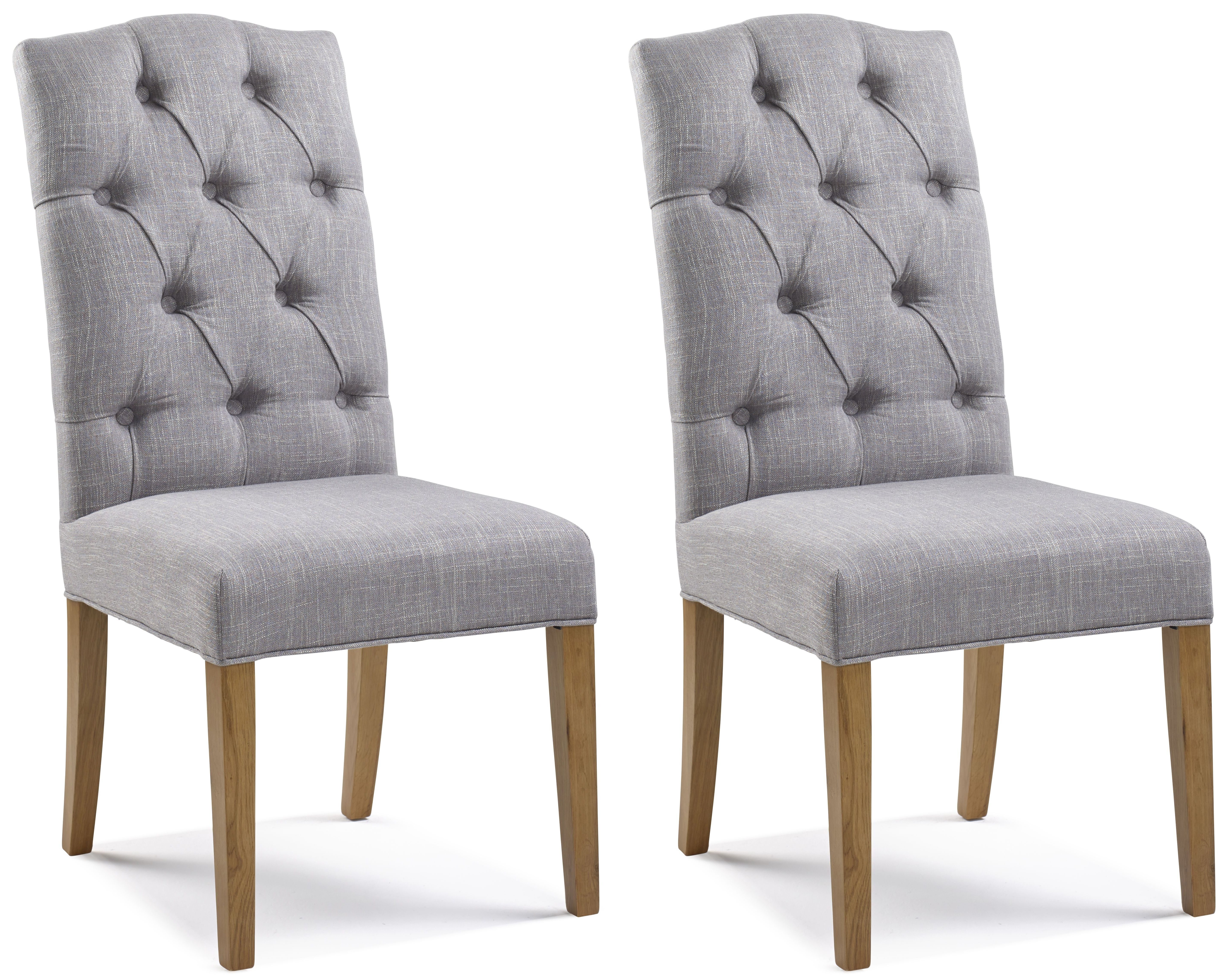 Paterson Arch Top Grey Button Back Dining Chair (Pair)