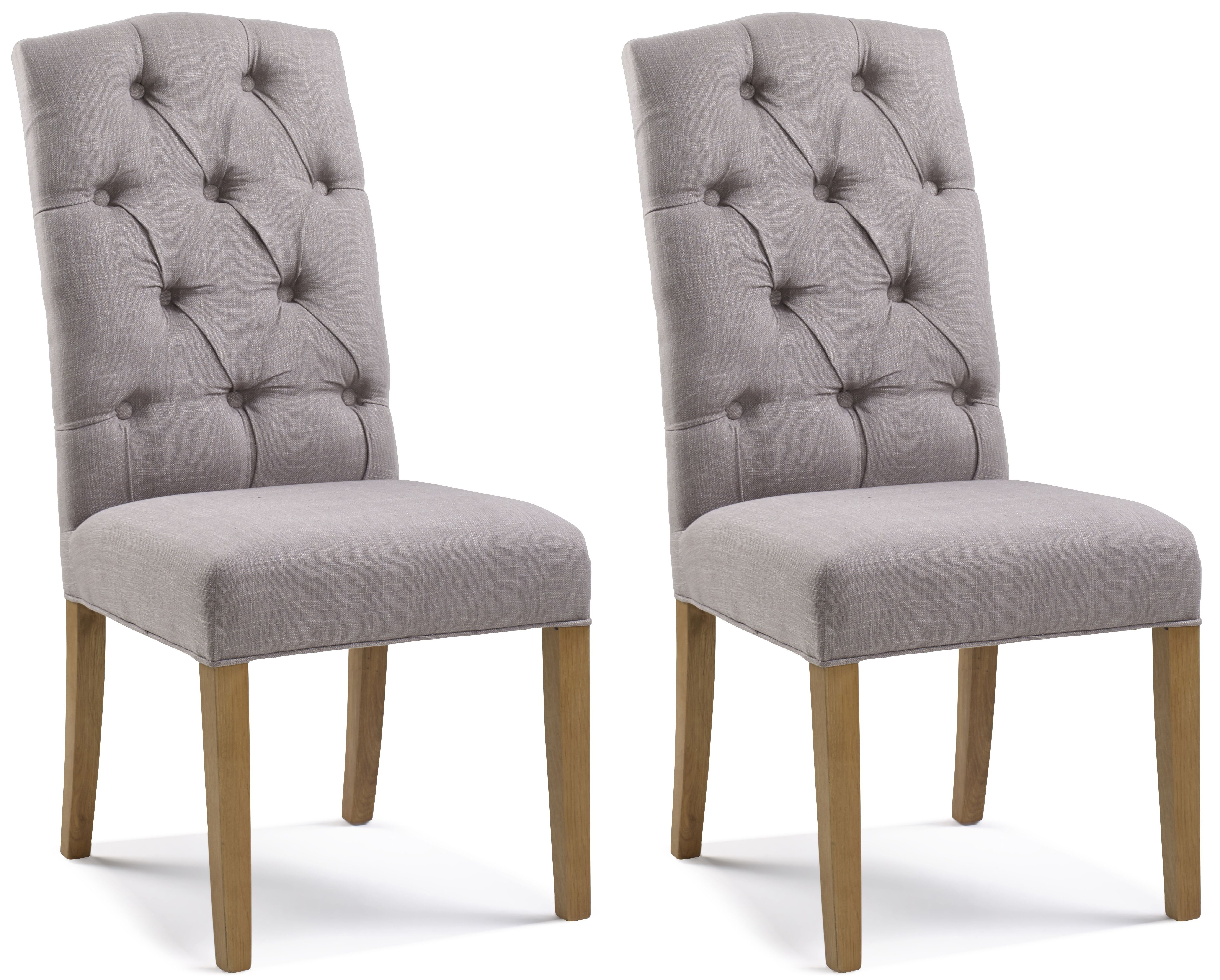 Paterson Arch Top Putty Button Back Dining Chair (Pair)