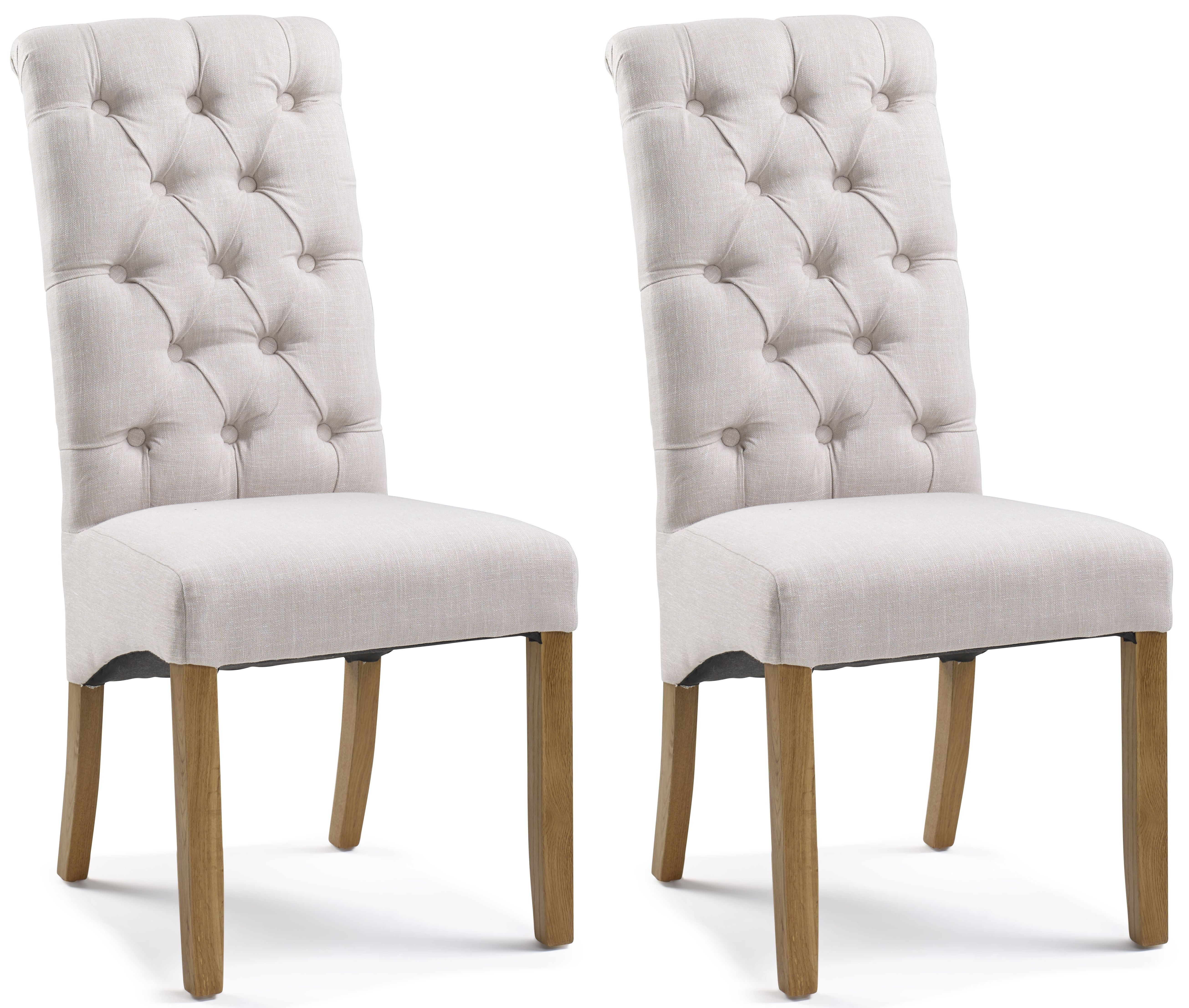 Athens Straight Top Natural Button Back Dining Chair (Pair)