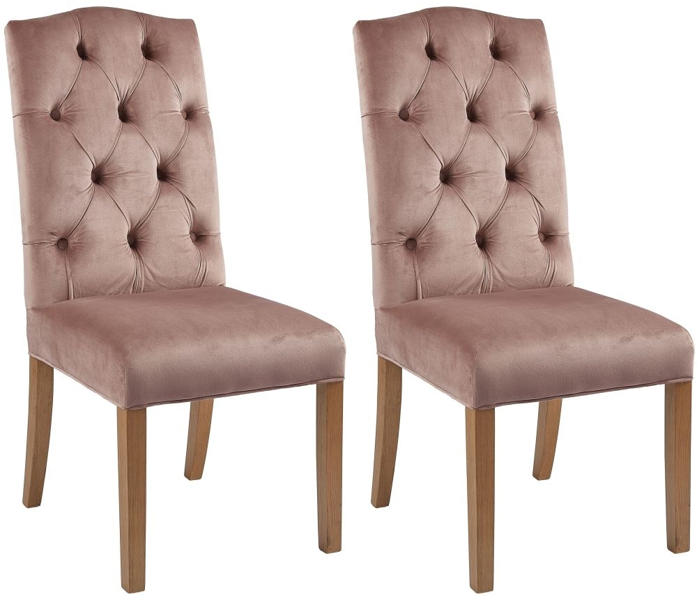 Paterson Arch Top Rose Pink Velvet Dining Chair (Pair)