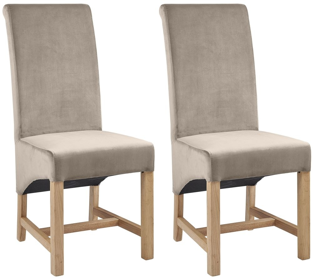 Product photograph showing Philmont Beige Velvet Dining Chair Pair
