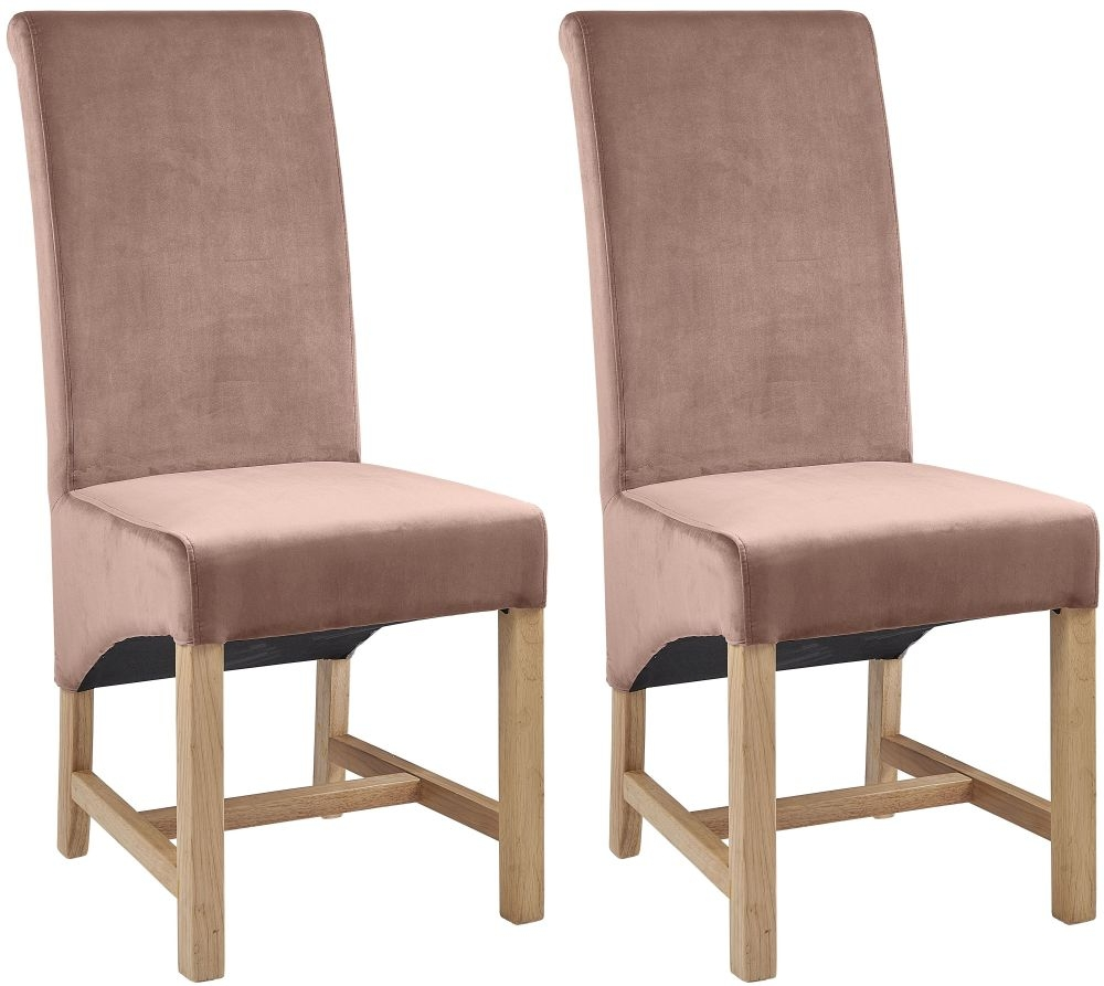 Philmont Rose Pink Velvet Dining Chair (Pair)