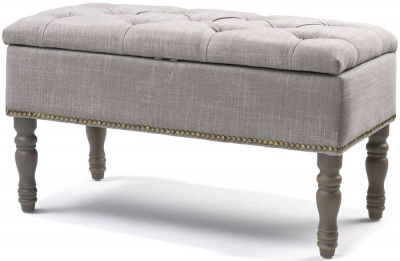 Downey Grey Fabric Ottoman