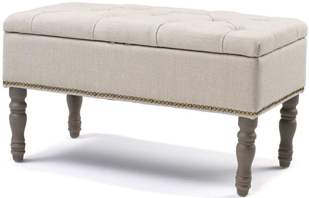 Downey Natural Fabric Ottoman