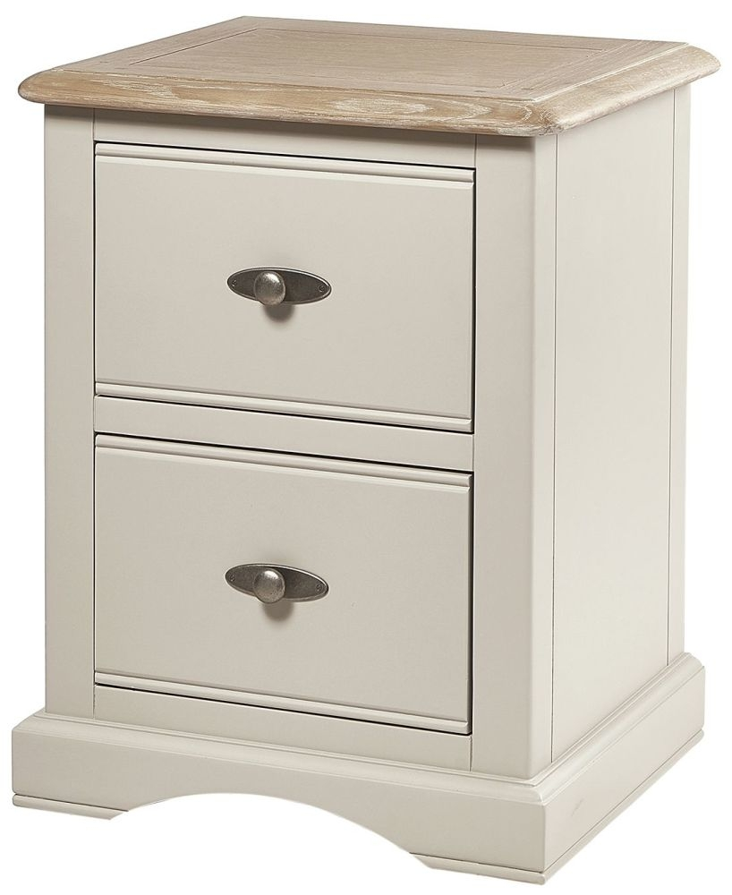 Chester Oak and Ivory Painted 2 Drawer Bedside Cabinet