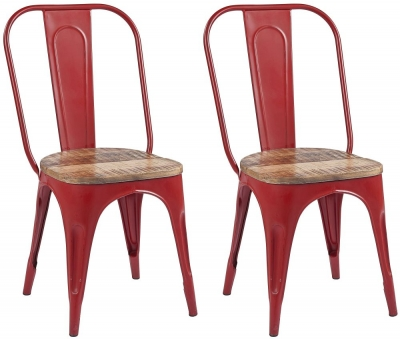 Frisco Industrial Red Dining Chair (Pair)