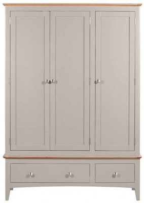 Lowell Oak and Grey Painted 3 Door 2 Drawer Wardrobe