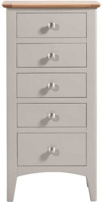 Lowell Oak and Grey Painted 5 Drawer Tall Chest