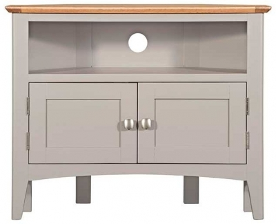 Lowell Oak and Grey Painted Corner TV Unit
