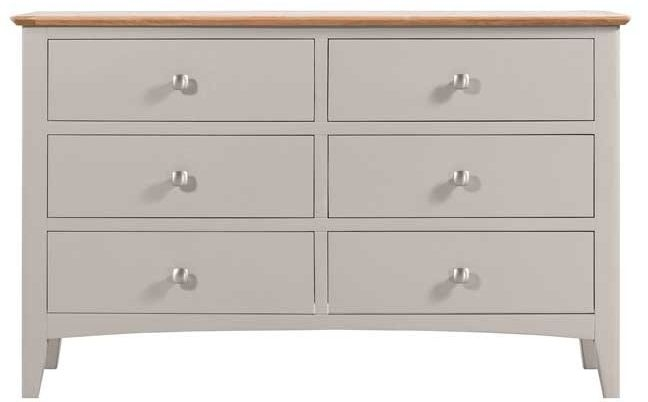 Lowell Oak and Grey Painted 6 Drawer Chest