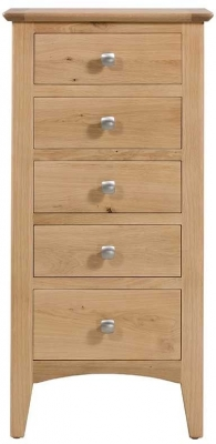 Lowell Natural Oak 5 Drawer Tall Chest