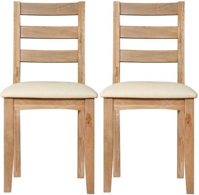 Lowell Natural Oak Ladder Back Dining Chair (Pair)