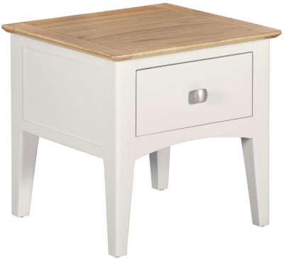 Lowell Oak and White Painted 1 Drawer Lamp Table