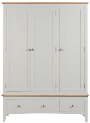 Lowell Oak and White Painted 3 Door 2 Drawer Wardrobe