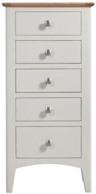 Lowell Oak and White Painted 5 Drawer Tall Chest