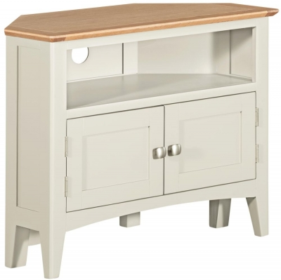 Lowell Oak and White Painted Corner TV Unit