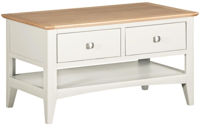 Lowell Oak and White Painted 2 Drawer Coffee Table