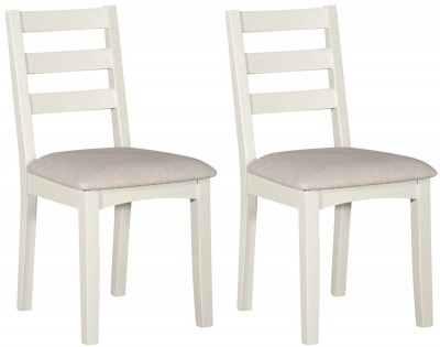 Lowell White Painted Ladder Back Dining Chair (Pair)