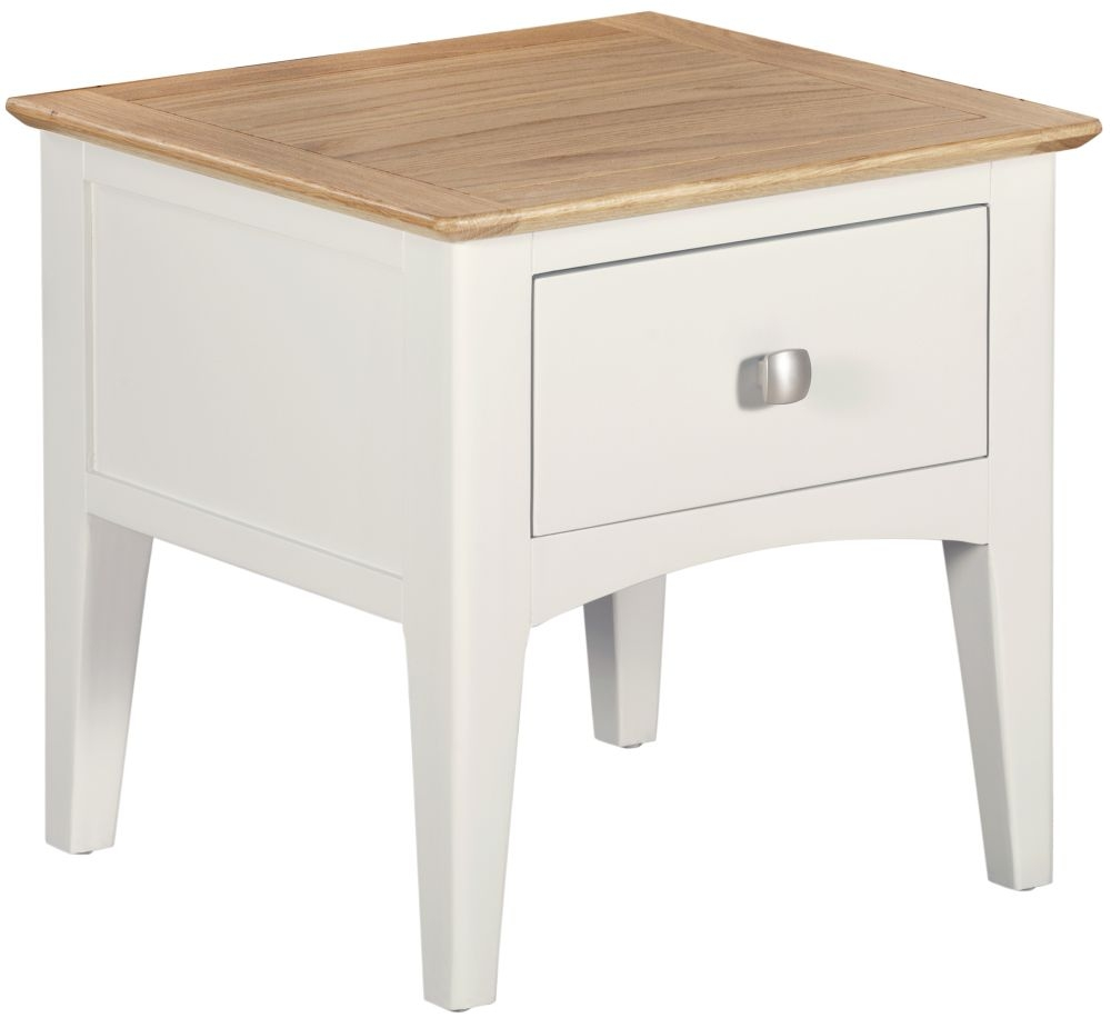 Lowell 1 Drawer Lamp Table - Oak and White Painted