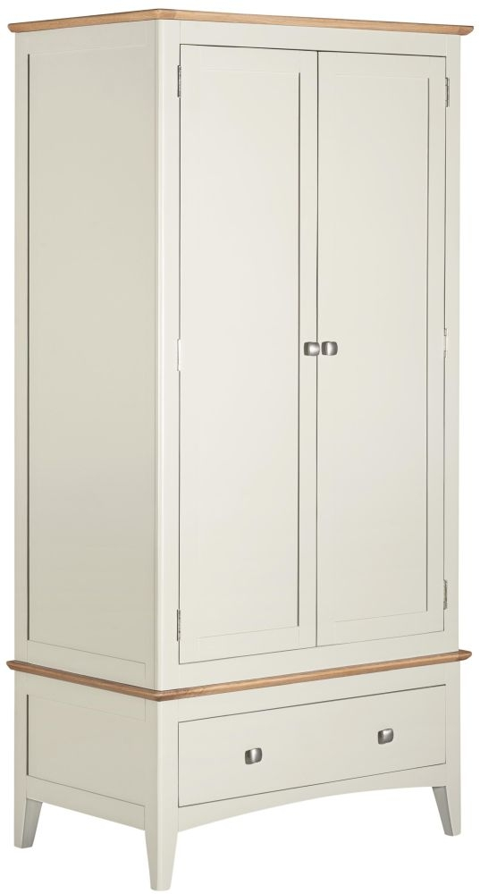 Lowell Oak and White Painted 2 Door 1 Drawer Wardrobe