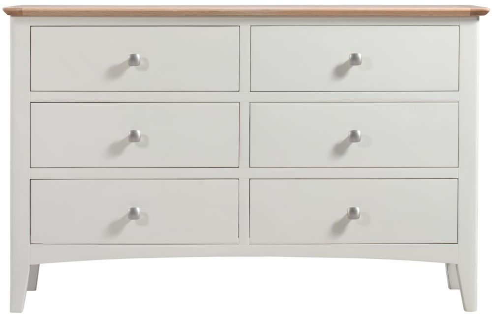 Lowell 6 Drawer Wide Chest - Oak and White Painted