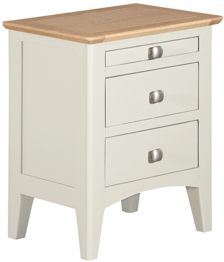 Lowell Bedside Cabinet - Oak and White Painted