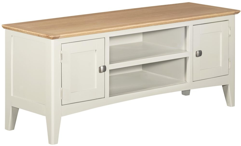 Lowell Large TV Unit - Oak and White Painted