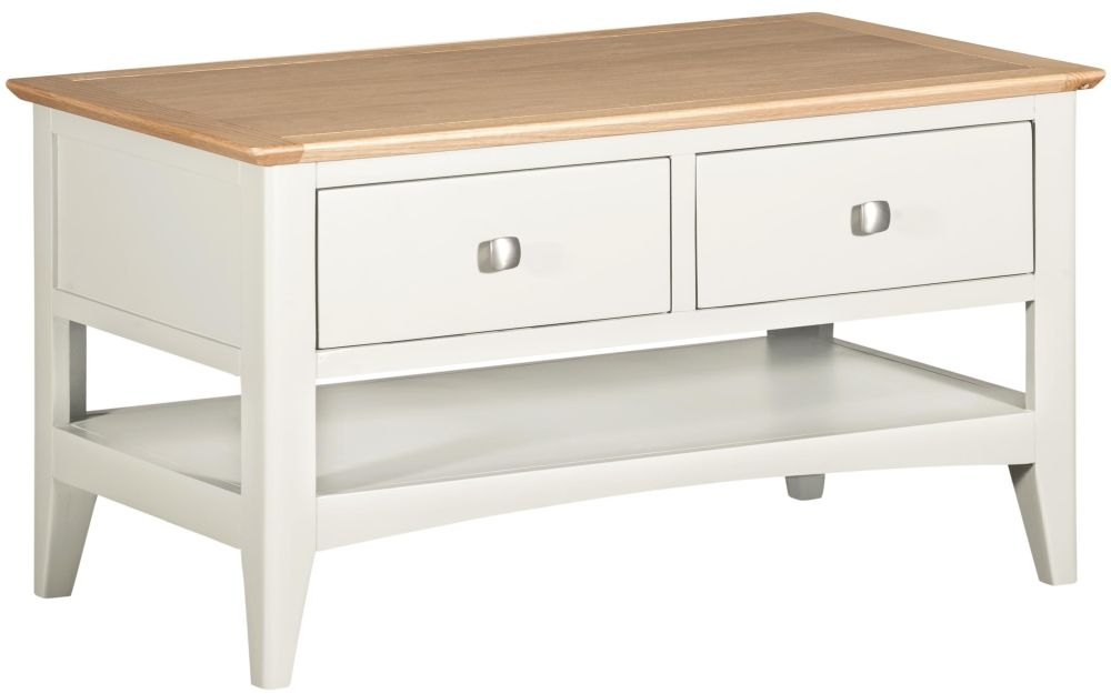 Lowell Storage Coffee Table - Oak and White Painted