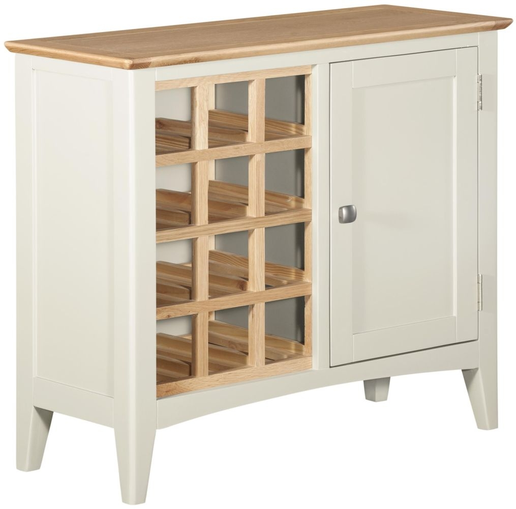Lowell Wine Cabinet - Oak and White Painted