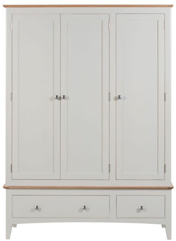 Lowell 3 Door 2 Drawer Wardrobe - Oak and White Painted